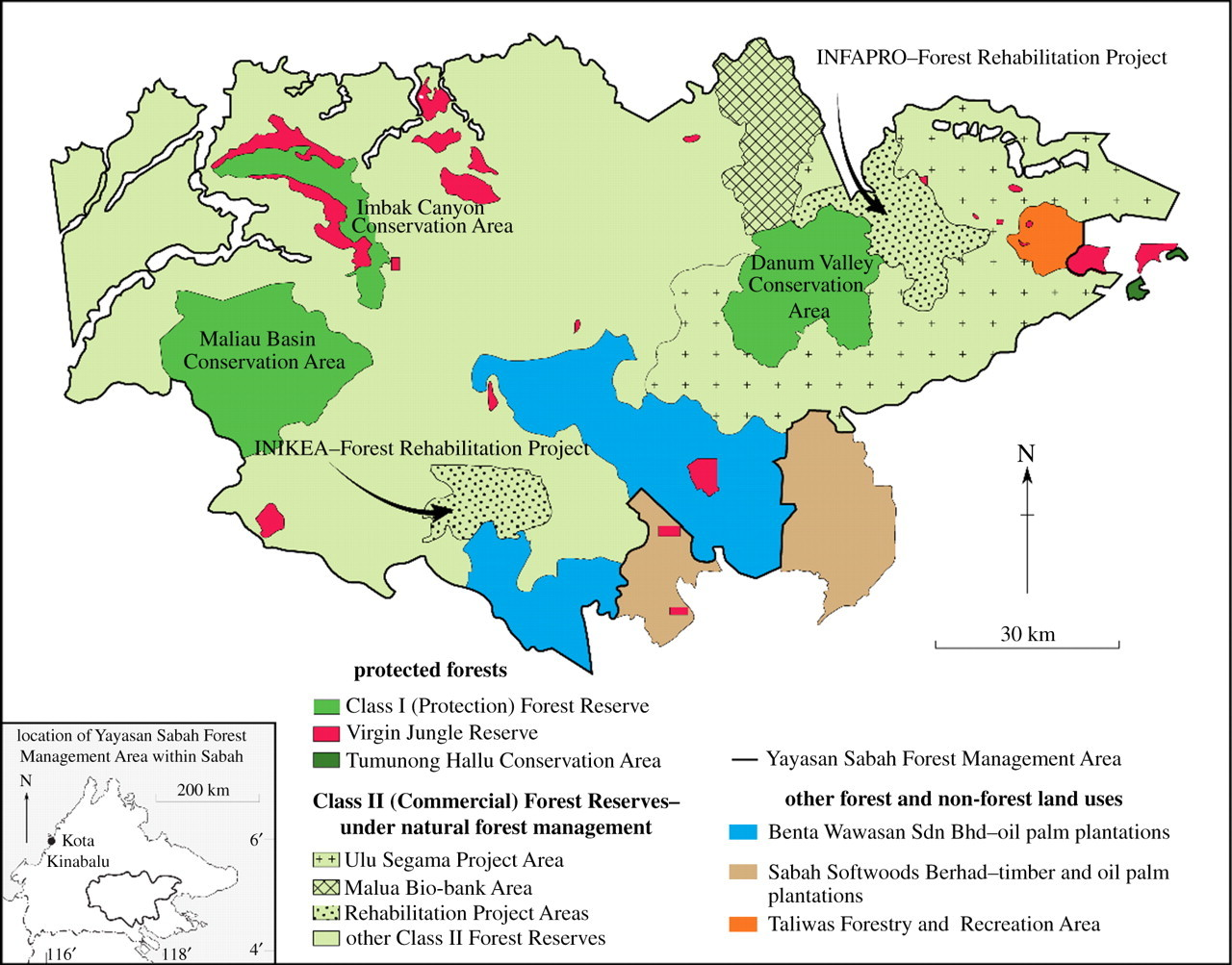 Changes In Forest Land Use And Management In Sabah Malaysian Borneo 1990 2010 With A Focus On The Danum Valley Region Philosophical Transactions Of The Royal Society B Biological Sciences