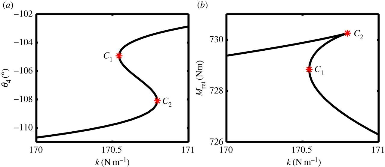 a bifurcation study to guide the design of a landing gear
