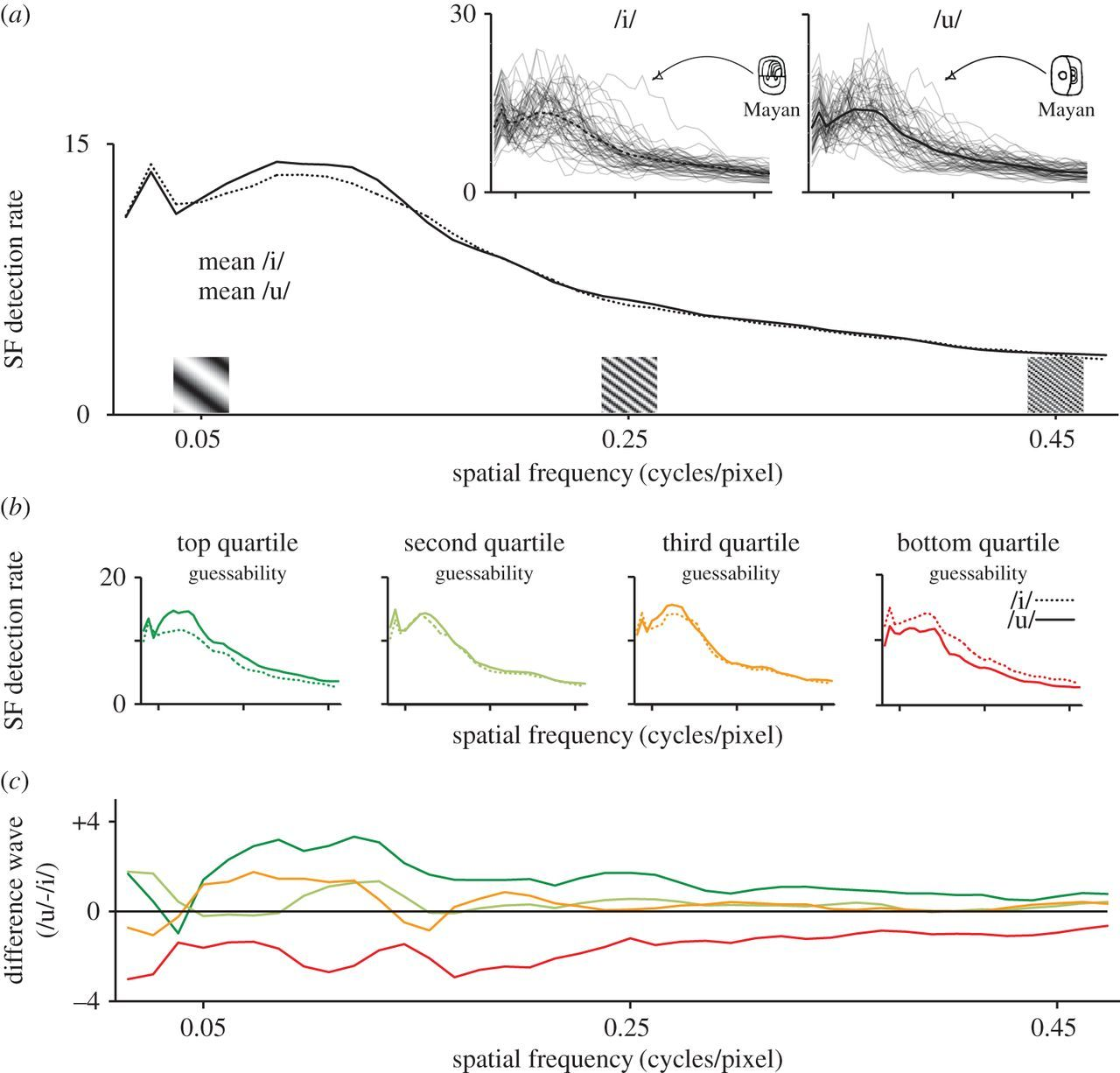 Glyph guessing for 'oo' and 'ee': spatial frequency information in