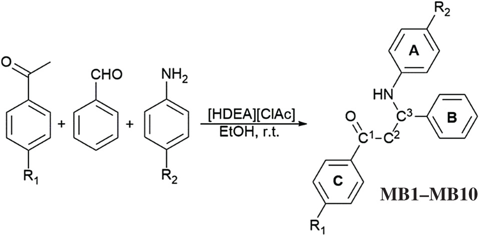 Acetophenone Mannich bases: study of ionic liquid catalysed