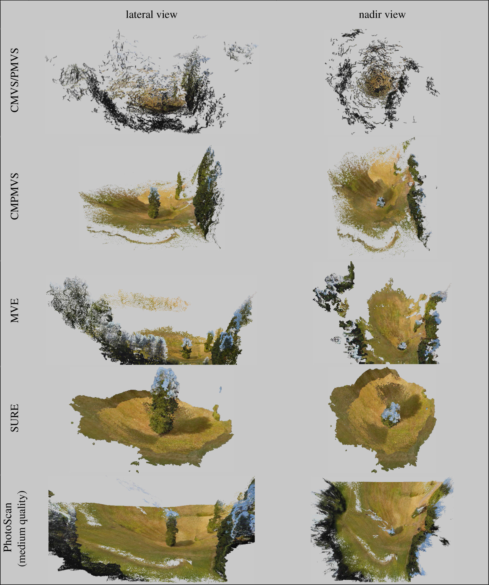 Intercomparison of photogrammetry software for three